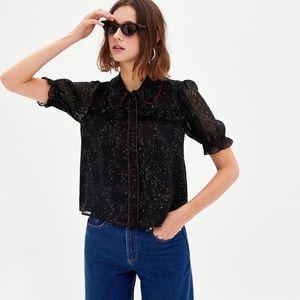 Zara Floral Semi Sheer Button Up Blouse